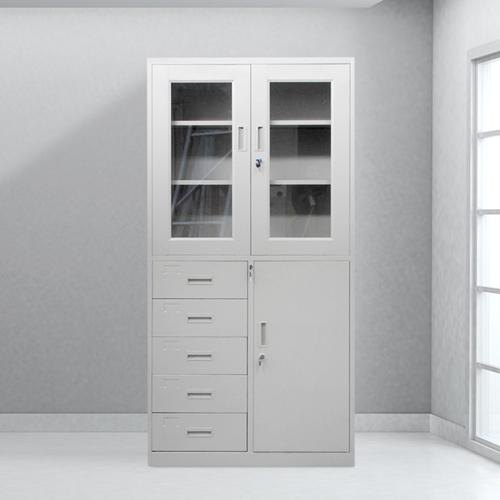 Glass Door Metal Storage Modern Cabinet Image 1