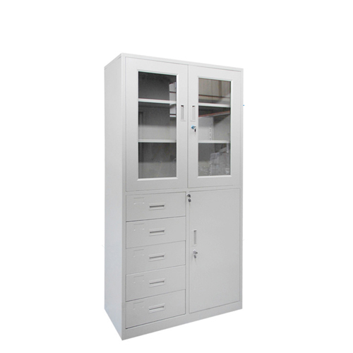 Glass Door Metal Storage Modern Cabinet Image 5