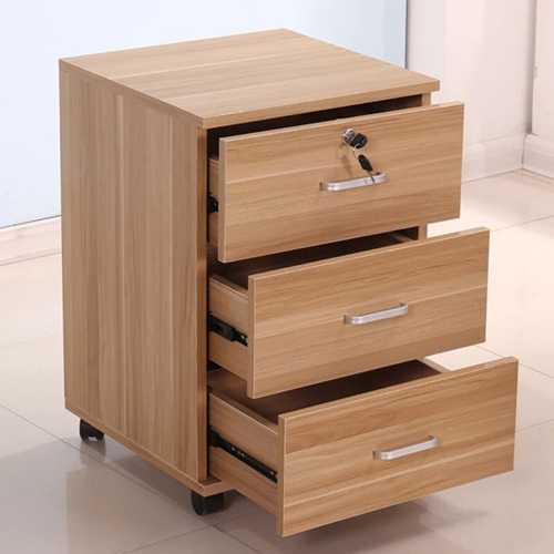 3 Drawer Wood File Cabinet With Wheels