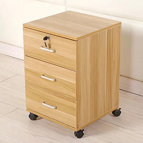 3 Drawer Wood File Cabinet With Wheels Image 4