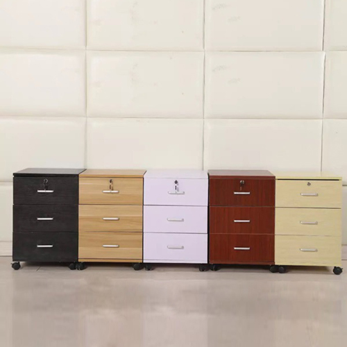 3 Drawer Wood File Cabinet With Wheels Image 5