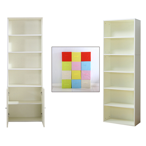Modern Bookshelf Rack With Locker Cabinet Image 10