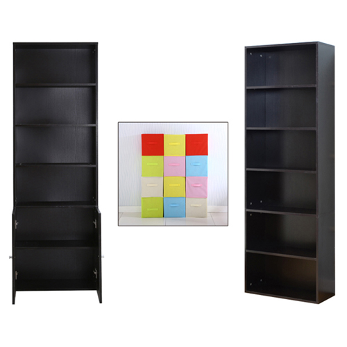 Modern Bookshelf Rack With Locker Cabinet Image 13