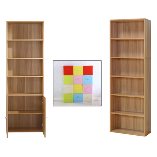 Modern Bookshelf Rack With Locker Cabinet Image 16