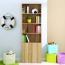 Modern Bookshelf Rack With Locker Cabinet Image 1