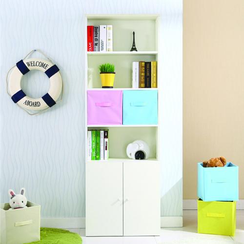 Modern Bookshelf Rack With Locker Cabinet Image 3