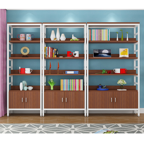 Wooden Storage Side Steel Bookshelf Image 10