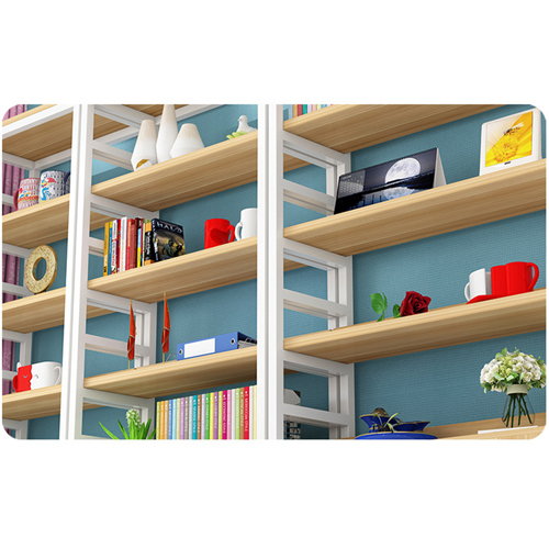 Wooden Storage Side Steel Bookshelf Image 14