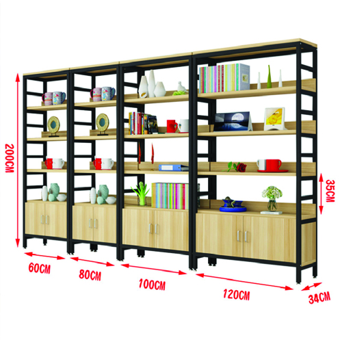Wooden Storage Side Steel Bookshelf Image 18