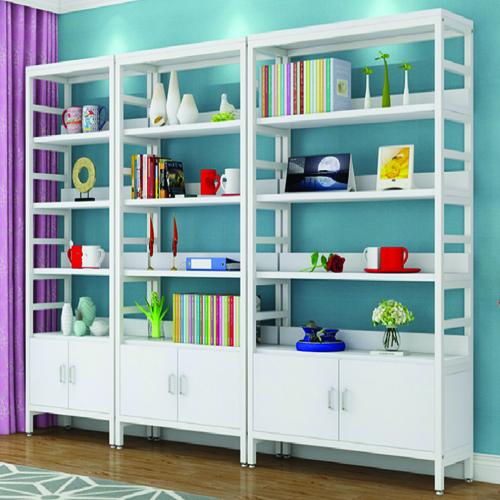 Wooden Storage Side Steel Bookshelf