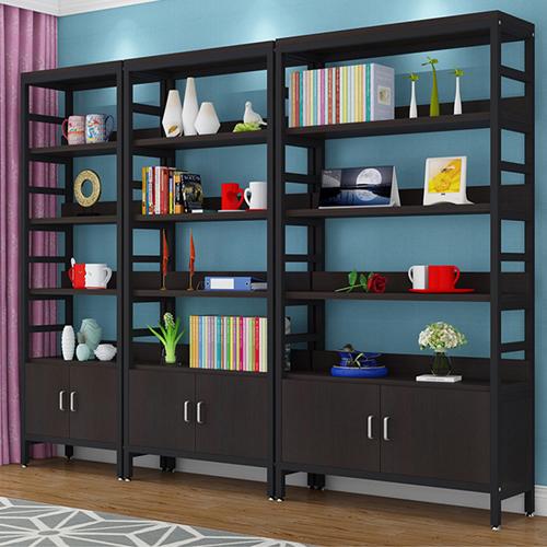 Wooden Storage Side Steel Bookshelf Image 4