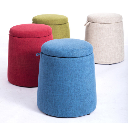 Round Fabric Storage Stool