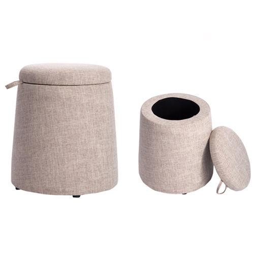 Round Fabric Storage Stool Image 14