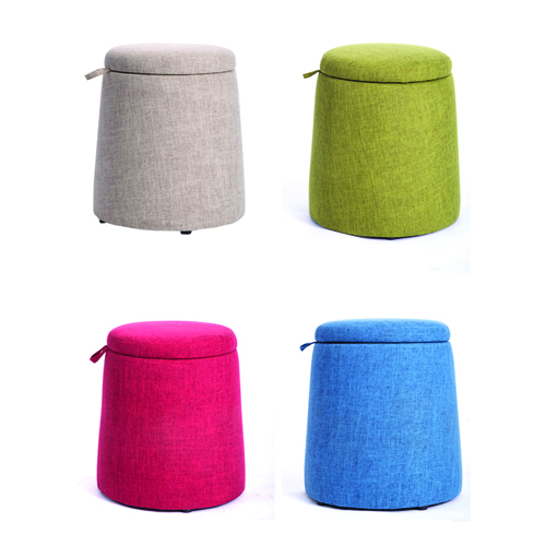 Round Fabric Storage Stool Image 16