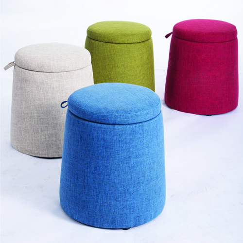 Round Fabric Storage Stool Image 1