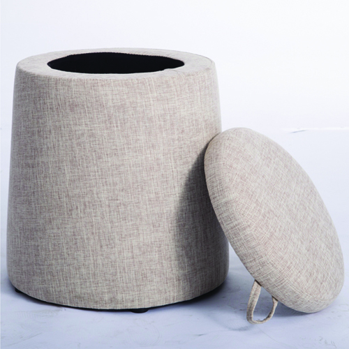 Round Fabric Storage Stool Image 2