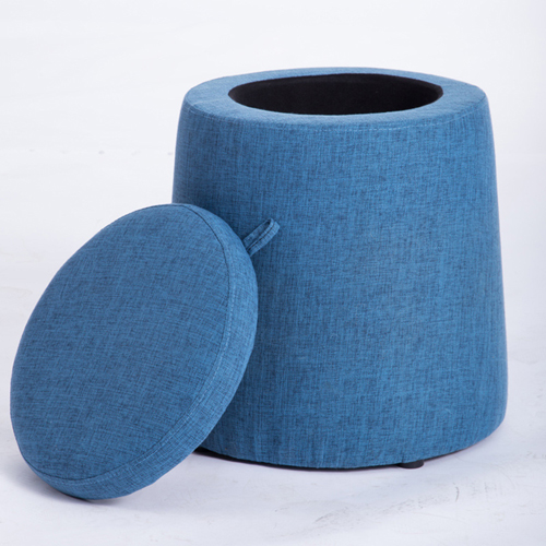 Round Fabric Storage Stool Image 4