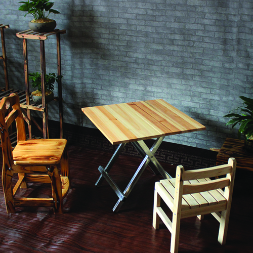 Square Wooden Folding Table Image 1