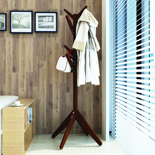 Creative Wooden Clothes Hanger Stand Image 4