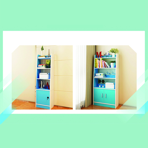 Modern Wooden Bookshelf With Cabinet Image 12