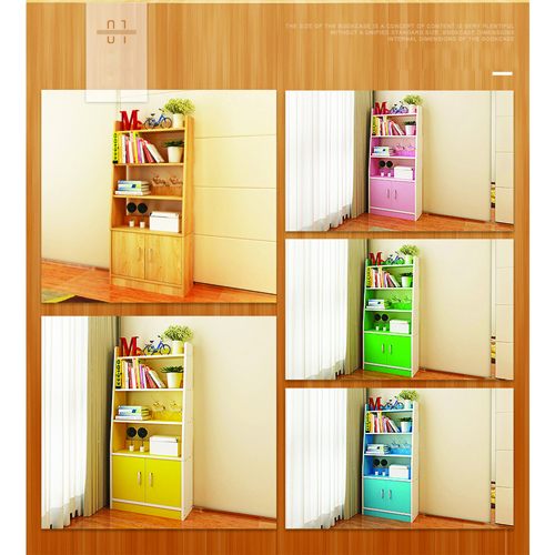 Modern Wooden Bookshelf With Cabinet Image 13