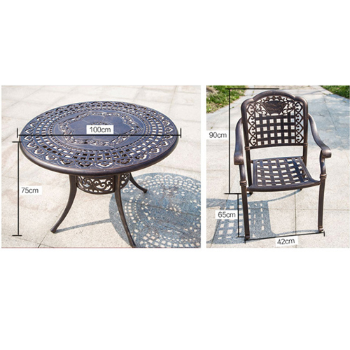 Patio Cast Aluminum Table Chair Set Image 18