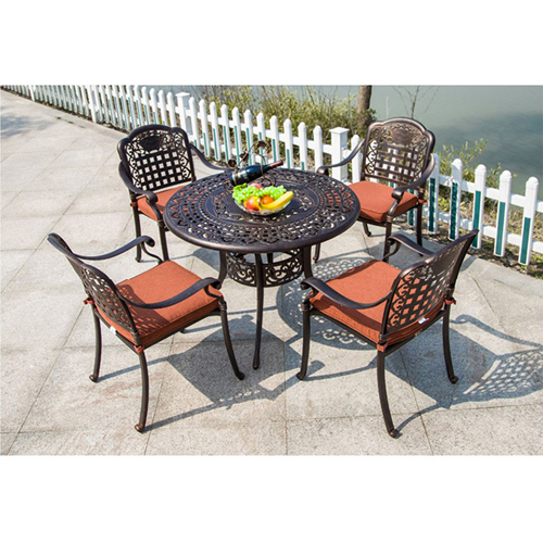 Patio Cast Aluminum Table Chair Set Image 1