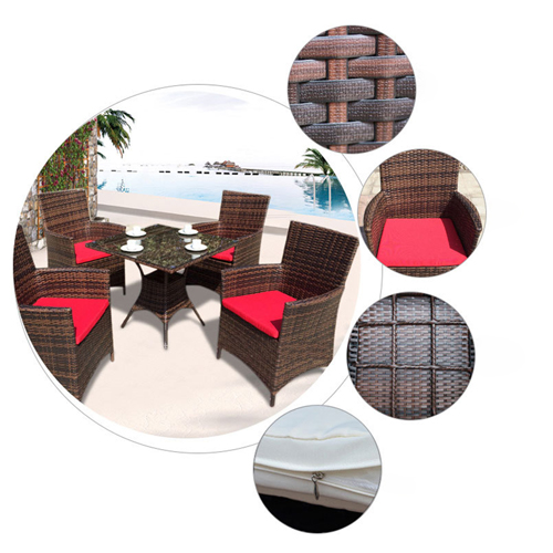 Alumix Outdoor Wicker Square 5-Piece Set Image 9