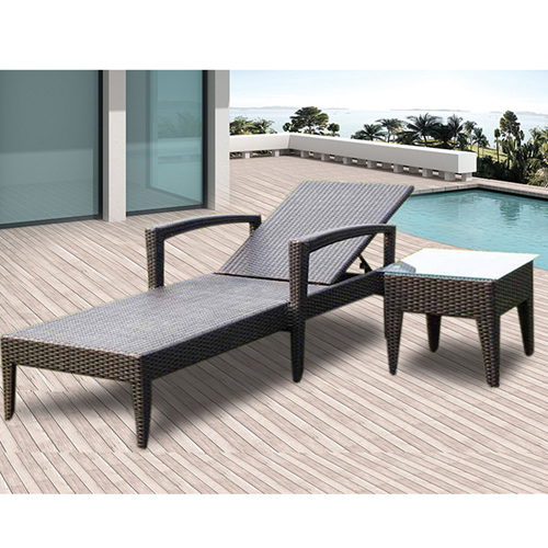 Rattan Folding Beach Lounge Chair Image 1