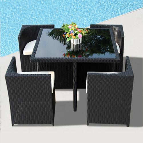 Square Patio Rattan Chair Five-Piece Set Image 1