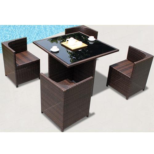 Square Patio Rattan Chair Five-Piece Set Image 3