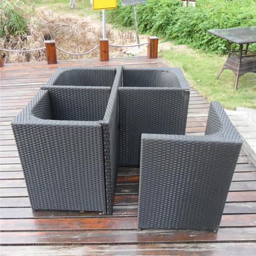 Square Patio Rattan Chair Five-Piece Set Image 4