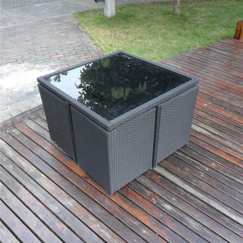 Square Patio Rattan Chair Five-Piece Set Image 5