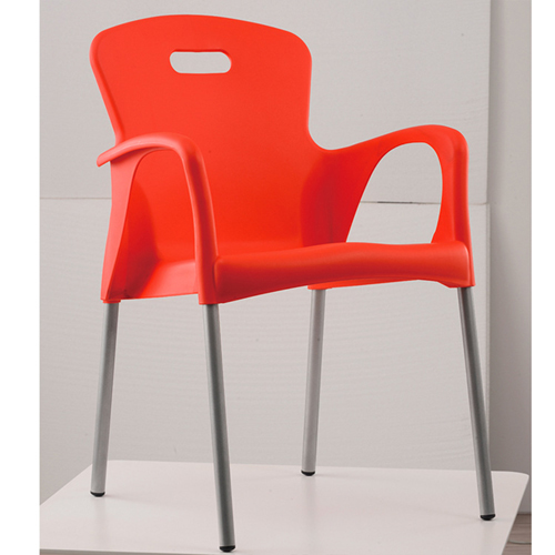 Modern Stackable Chair with Aluminum Legs Image 2