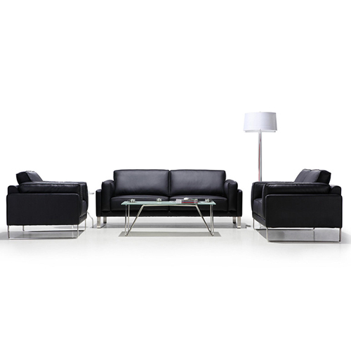 Ziore Leather Sofa Set With Chrome Legs Image 10