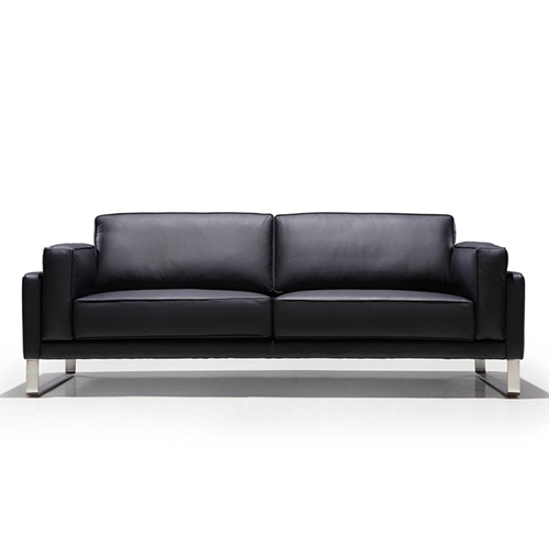 Ziore Leather Sofa Set With Chrome Legs Image 11