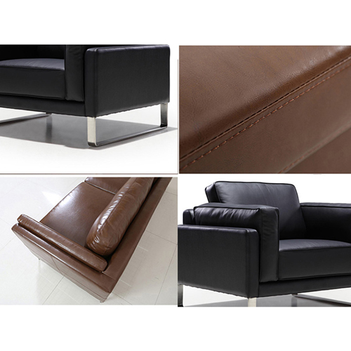 Ziore Leather Sofa Set With Chrome Legs Image 12