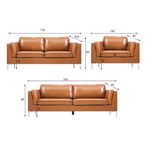 Ziore Leather Sofa Set With Chrome Legs Image 14