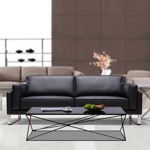 Ziore Leather Sofa Set With Chrome Legs Image 1