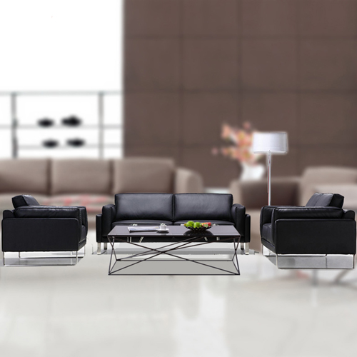 Ziore Leather Sofa Set With Chrome Legs Image 2
