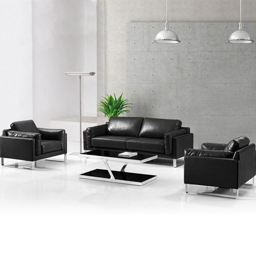 Ziore Leather Sofa Set With Chrome Legs Image 3
