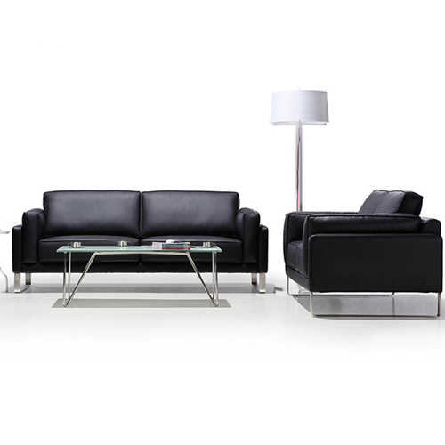 Ziore Leather Sofa Set With Chrome Legs Image 4