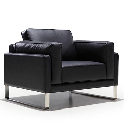 Ziore Leather Sofa Set With Chrome Legs Image 5