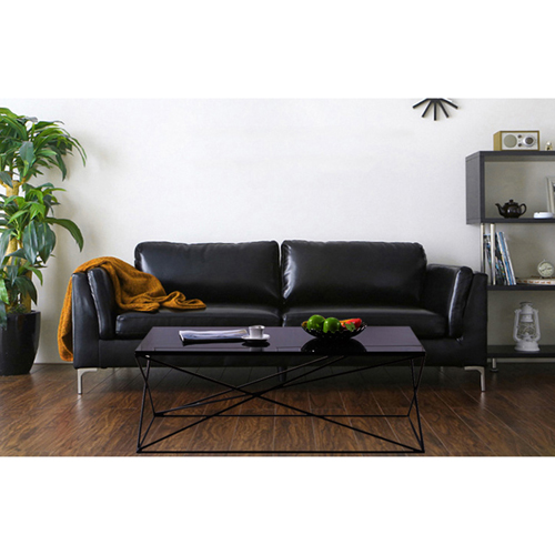 Ziore Leather Sofa Set With Chrome Legs Image 7