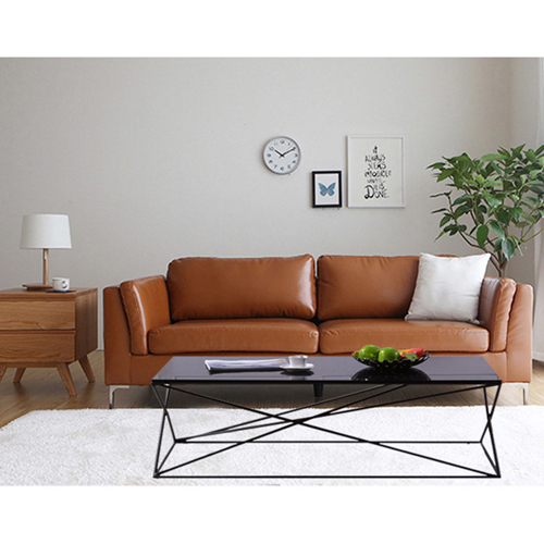 Ziore Leather Sofa Set With Chrome Legs Image 9