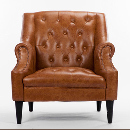 Classic Button Tufted Leather Chair Image 10