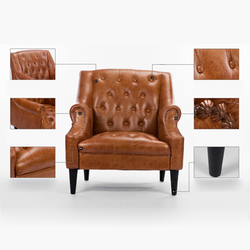 Classic Button Tufted Leather Chair Image 19