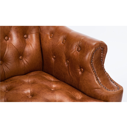 Classic Button Tufted Leather Chair Image 22