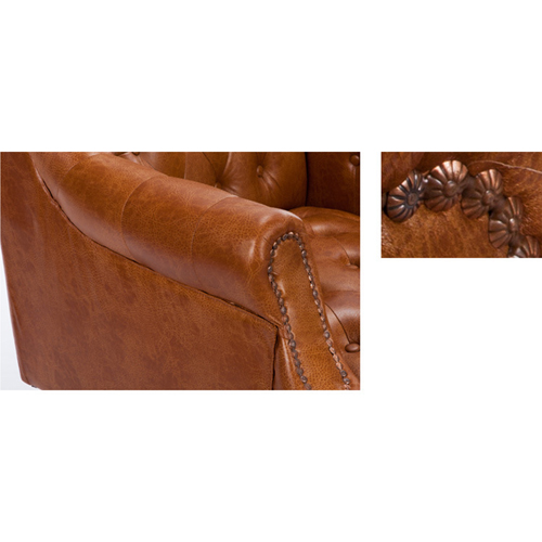 Classic Button Tufted Leather Chair Image 23
