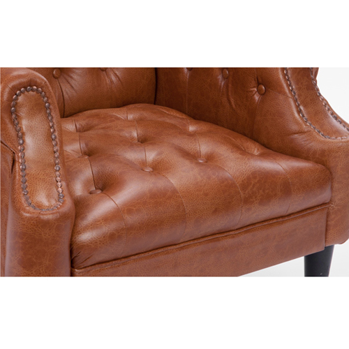 Classic Button Tufted Leather Chair Image 24